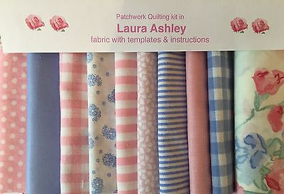 LAURA ASHLEY PINK SWEET PEA FABRIC 80 piece.PATCHWORK QUILTING KIT+iNSTRUCTIONS
