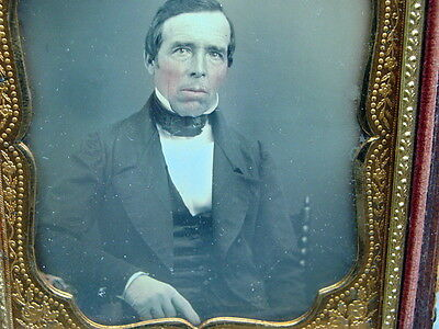 1/6th Plate Daguerreotype Dag Of A Man With Pink Cheeks and White Glove