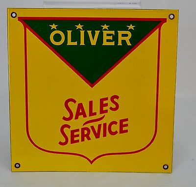 Oliver Sales Service Yellow Green Red Porcelain Sign Tractor Service