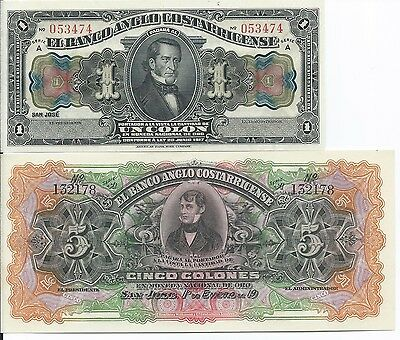 Costa Rica 1 and 5 Colones uncirculated banknotes