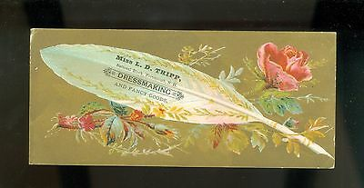 1890s Beautiful Victorian Trade Card Dressmaker Feather Portsmouth NH