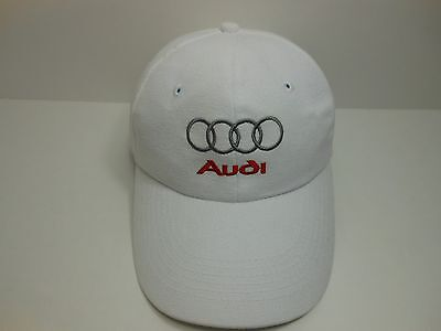 White Audi Logo Hat Strap Back Embroidered Audi Promotional Advertisement Hat