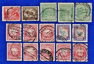 Bolivia Scott #268-272-307-C102-C105 Lot of 17 Stamps 1940's Collection Used