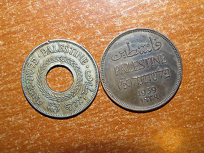 Palestine 1939 1 and 1927 5 Mils coin lot Very Fine nice