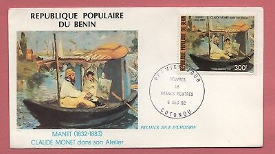 1982 Fdc Benin 300Fr Air Mail Manet Painting #c302