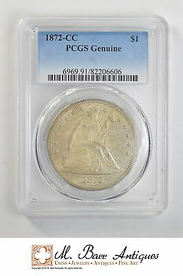 Genuine 1872-CC Seated Liberty Silver Dollar - Graded PCGS *2313