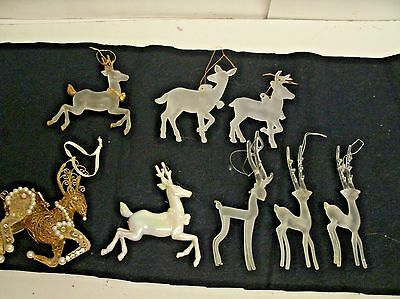 Lot of 8 Deer Reindeer Christmas ornaments frosted and assorted
