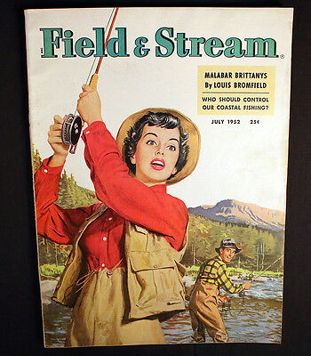 Field & Stream 1952 Lady and Brown Trout Smallmouths Colorblind Pike Great Ads