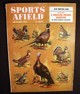 Vintage Sports Afield 1950 New Hunting Laws Deer Hunters Sled Dogs Great Ads