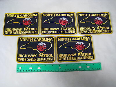 """Lot 5 Police Patches 4"""" x 5"""" North Carolina Highway Patrol Motor Carrier NEW"""