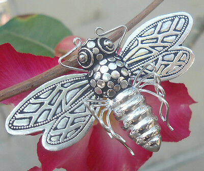 925 Sterling Silver-BEE Brooch Pin Pendant Balinese Handcrafted -SALE