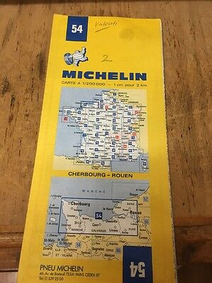 Vintage Michelin French Map: 54 Cherbourg- Rouen 1975