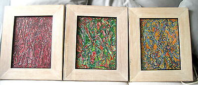 3 Colorful Original Oil Painting Abstract Framed Artist Unknown
