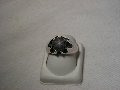 ...Rare Man's/Men's Sterling Silver,Linde/Lindy Gray Star Sapphire Belcher Ring
