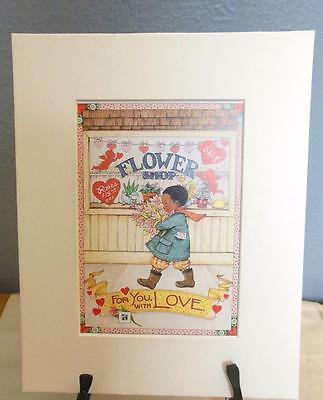 """Mary Engelbreit Print Matted 8 x 10 """"For You With Love"""""""