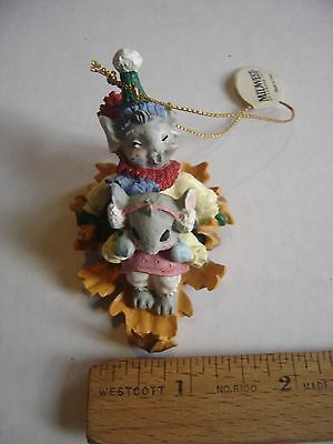 Ornament Mousekins Mice On A Leaf Sled Midwest of Cannon Falls Xmas Christmas