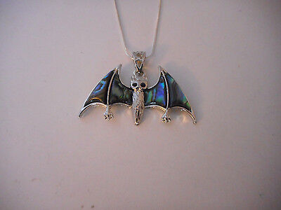 """silver plated abalone shell bat pendant necklace 20"""" chain Halloween"""