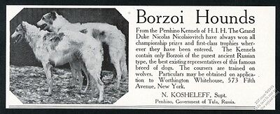 1908 Borzoi Russian Wolfhound photo Pershino Kennels Russia vintage print ad