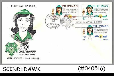 PHILIPPINES - 1966 25th ANNIVERSARY OF GIRL SCOUT - 3V - FDC