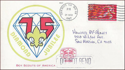 USA - 1987 75th DIAMOND JUBILEE BOY SCOUTS OF AMERICA SPECIAL COVER - CANCL.