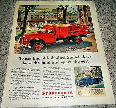 1946 STUDEBAKER Red Stake Side w/ Half-ton Coupe Express Pickup Truck Ad