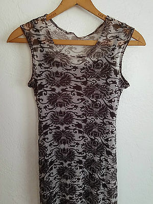 VTG 90s Floral Lace Maxi Dress 2 PC Layered Grunge Goth M