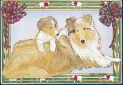 Ten Cards Pack COLLIE Dog Breed Christmas Cards USA made