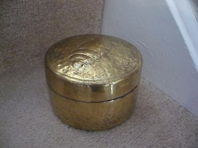A Brass Hand Crafted Round Box A Great Looking Item