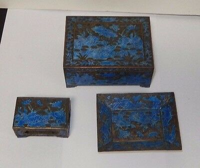 Old Chinese Cloisonne Repousse Blue Enamel Koi Fish Bird Design Box Set