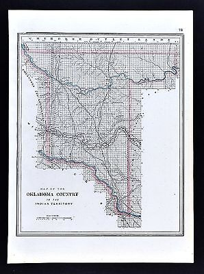 1891 Watson Map Oklahoma Country in Indian Territory Norman Cattle Drive Trails