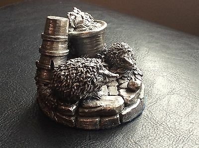 country artists sterling silver Model Of Hedgehogs In Garden