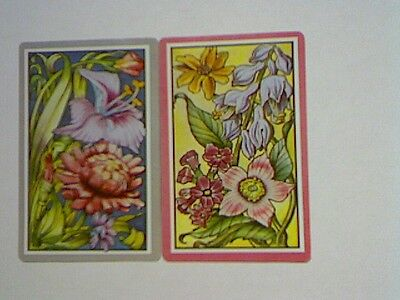 (2) Swap/Playing Cards - Pair Flowers