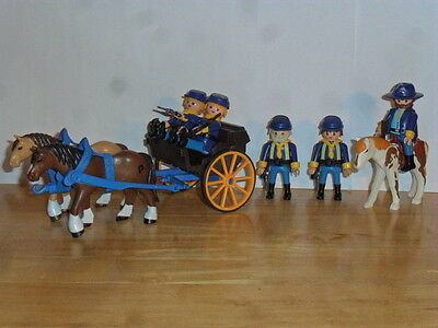 Playmobil - 4 Cavalry Soldiers,1 Officer, 1 Cart, 2 Horses With Accessories