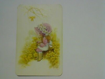 "1 Single Swap/Playing Card -  ""Joy"" Pink Girl Sitting in the Flowers (Blank Back"