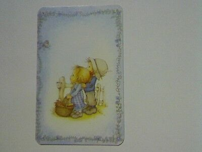 "1 Single Swap/Playing Card - ""Lee""(Blank Back) Girl & Boy at Fence Watching Bird"