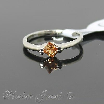 Pretty Bday Gift Square Amber Cz Silver Sp Womens Girls Ring Size 7.5 Med