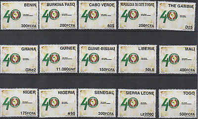 2015 Joint Issue CEDEAO ECOWAS 40 years ALL 15 Countries MNH** Only 5000 RARE !