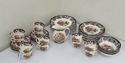 Royal Worcester Palissy Game Series 48 Piece Plates, Bowls, Cups & Saucers, Jug