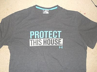 Under Armour Loose Fit Men's Protect This House Shirt Gray Blue Xxl 2Xl Cotton