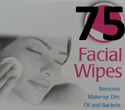 75 FACIAL WIPES - 3 x 25 Packs NEW - Make-Up Remover Removes Dirt/Oil/Bacteria