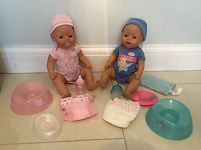 Baby Born Twins Boy & Girl With Bottle Potty Nappy Accessories Vgc Zapf Creation