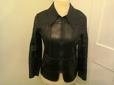 Vintage 1970's Black Leather Fitted Jacket Size 10-12