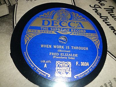"""Collection of 4x FRED ELIZALDE Piano 10"""" 78RPM Gramophone Records 31/26"""