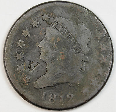 "1812 Large Cent.   Counter stamped ""W"".  Good Detail."