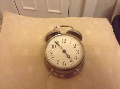 A Vintage Style Double Bell Alarm Clock In Good Working Order Wind Up Style