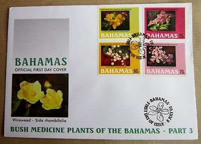 Bahamas First Day Cover FDC Bush Medicine Plants  8/7/2003 4x Plants stamps