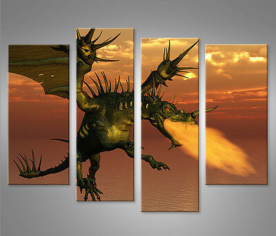 drache v2 1p bild auf leinwand wandbild poster kunstdruck eur 29 90 picclick de. Black Bedroom Furniture Sets. Home Design Ideas