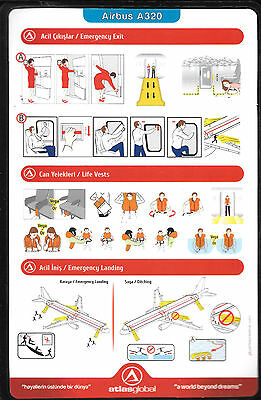 1 x ATLAS GLOBAL A320 SAFETY CARD *11/03/2015*