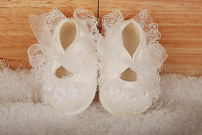 New Baby Girls Ivory Satin Christening Shoes 6-9 Months