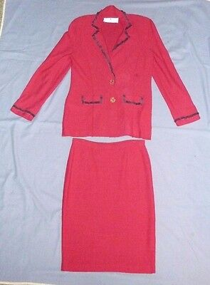 Steve Fabrikant signature 2 piece red wool blend sweater suit size Ladies Large